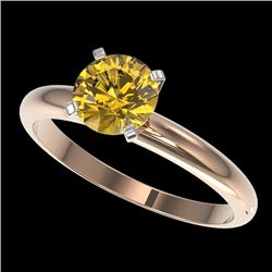 1.25 CTW Certified Intense Yellow SI Diamond Solitaire Ring 10K Rose Gold - REF-179R3K - 32912