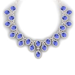 86 CTW Royalty Tanzanite & VS Diamond Necklace 18K Rose Gold - REF-2018H2W - 38629