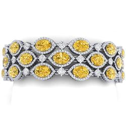 43.84 CTW Royalty Canary Citrine & VS Diamond Bracelet 18K White Gold - REF-1018W2H - 38901