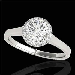 1.11 CTW H-SI/I Certified Diamond Solitaire Halo Ring 10K White Gold - REF-167M3F - 33814