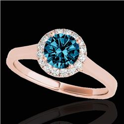 1.11 CTW SI Certified Fancy Blue Diamond Solitaire Halo Ring 10K Rose Gold - REF-167Y3N - 33820