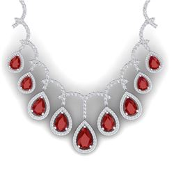 31.5 CTW Royalty Designer Ruby & VS Diamond Necklace 18K White Gold - REF-872K8R - 39348