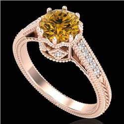 1.25 CTW Intense Fancy Yellow Diamond Engagement Art Deco Ring 18K Rose Gold - REF-195H5W - 37526