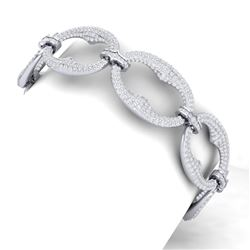 14 CTW Certified VS/SI Diamond Bracelet 18K White Gold - REF-775H2W - 40058