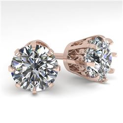 4 CTW VS/SI Diamond Stud Solitaire Earrings 18K Rose Gold - REF-1936K4R - 35705