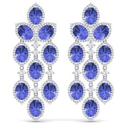 31.55 CTW Royalty Tanzanite & VS Diamond Earrings 18K White Gold - REF-718H2W - 38931