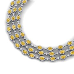 69.29 CTW Royalty Canary Citrine & VS Diamond Necklace 18K White Gold - REF-1418K2R - 38955