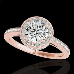 1.55 CTW H-SI/I Certified Diamond Solitaire Halo Ring 10K Rose Gold - REF-180N2Y - 34275