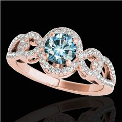 1.38 CTW SI Certified Fancy Blue Diamond Solitaire Halo Ring 10K Rose Gold - REF-174X5T - 33924