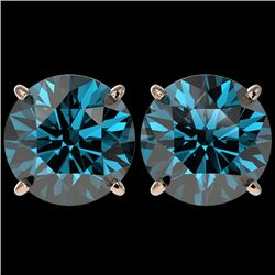 5 CTW Certified Intense Blue SI Diamond Solitaire Stud Earrings 10K Rose Gold - REF-1390T5X - 33149