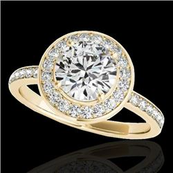 1.5 CTW H-SI/I Certified Diamond Solitaire Halo Ring 10K Yellow Gold - REF-171M8F - 34380