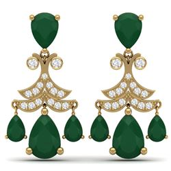 11.97 CTW Royalty Emerald & VS Diamond Earrings 18K Yellow Gold - REF-176N4Y - 38717
