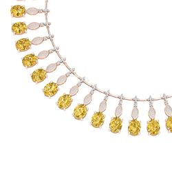50.16 CTW Royalty Canary Citrine & VS Diamond Necklace 18K Rose Gold - REF-927W3H - 39136