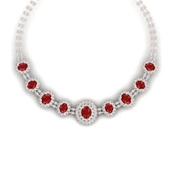 45.69 CTW Royalty Ruby & VS Diamond Necklace 18K Rose Gold - REF-1618Y2N - 38794