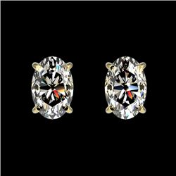 1 CTW Certified VS/SI Quality Oval Diamond Solitaire Stud Earrings 10K Yellow Gold - REF-143T6X - 33