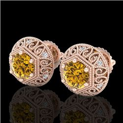1.31 CTW Intense Fancy Yellow Diamond Art Deco Stud Earrings 18K Rose Gold - REF-149N3Y - 37561
