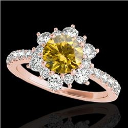 2 CTW Certified Si Fancy Intense Yellow Diamond Solitaire Halo Ring 10K Rose Gold - REF-200Y2N - 337