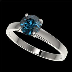 1.03 CTW Certified Intense Blue SI Diamond Solitaire Engagement Ring 10K White Gold - REF-140H4W - 3