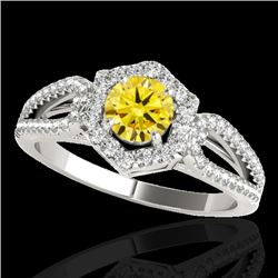 1.43 CTW Certified Si Fancy Intense Yellow Diamond Solitaire Halo Ring 10K White Gold - REF-176X4T -
