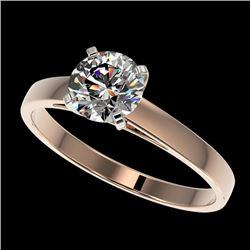0.99 CTW Certified H-SI/I Quality Diamond Solitaire Engagement Ring 10K Rose Gold - REF-140M2F - 364