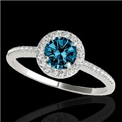 1.2 CTW SI Certified Fancy Blue Diamond Solitaire Halo Ring 10K White Gold - REF-150N9Y - 33504