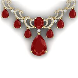 34.91 CTW Royalty Ruby & VS Diamond Necklace 18K Yellow Gold - REF-981R8K - 38660