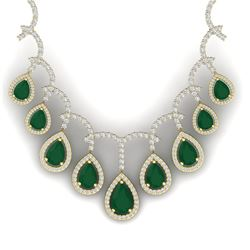 31.5 CTW Royalty Emerald & VS Diamond Necklace 18K Yellow Gold - REF-872W8H - 39347