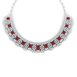 50.44 CTW Royalty Ruby & VS Diamond Necklace 18K White Gold - REF-1709T3X - 39378
