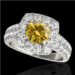 2.5 CTW Certified Si Fancy Intense Yellow Diamond Solitaire Halo Ring 10K White Gold - REF-260Y2N -