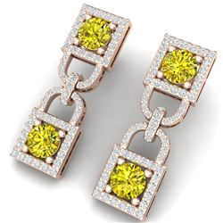 4 CTW Si/I Fancy Yellow And White Diamond Earrings 18K Rose Gold - REF-300H2W - 40164
