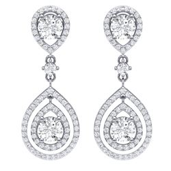 3.53 CTW Royalty Designer VS/SI Diamond Earrings 18K White Gold - REF-418H2W - 39108