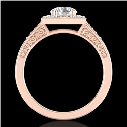 1.1 CTW VS/SI Diamond Art Deco Ring 18K Rose Gold - REF-227X3T - 37266