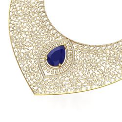 63.93 CTW Royalty Sapphire & VS Diamond Necklace 18K Yellow Gold - REF-2563R6K - 39578