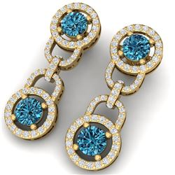 4 CTW Si/I Fancy Blue And White Diamond Earrings 18K Yellow Gold - REF-271K4R - 40108