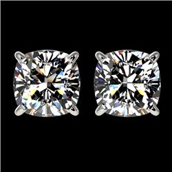 2 CTW Certified VS/SI Quality Cushion Cut Diamond Stud Earrings 10K White Gold - REF-552T2X - 33097