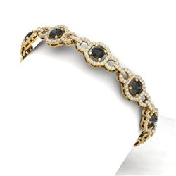12 CTW Black And White Diamond Bracelet 18K Yellow Gold - REF-455W5H - 40189