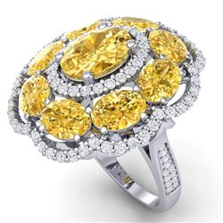 13.71 CTW Royalty Canary Citrine & VS Diamond Ring 18K White Gold - REF-218T2X - 39198