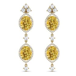 12.21 CTW Royalty Canary Citrine & VS Diamond Earrings 18K Yellow Gold - REF-254X5T - 38921