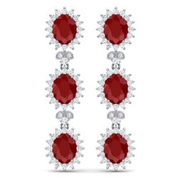 24.52 CTW Royalty Designer Ruby & VS Diamond Earrings 18K White Gold - REF-436T4X - 38640