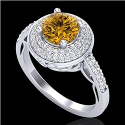 1.7 CTW Intense Fancy Yellow Diamond Engagement Art Deco Ring 18K White Gold - REF-254Y5N - 38127