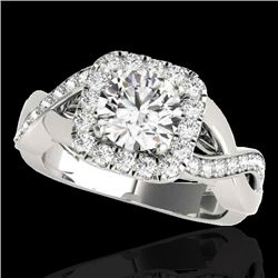 2 CTW H-SI/I Certified Diamond Solitaire Halo Ring 10K White Gold - REF-234F5M - 33316