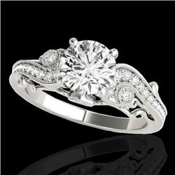 1.5 CTW H-SI/I Certified Diamond Solitaire Antique Ring 10K White Gold - REF-262H8W - 34801