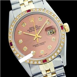 Rolex Men's Two Tone 14K Gold/SS, QuickSet, Diam Dial & Diam/Ruby Bezel - REF-474X5A