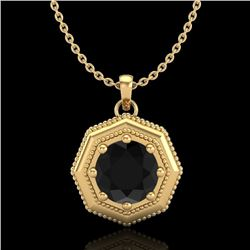 0.75 CTW Fancy Black Diamond Solitaire Art Deco Stud Necklace 18K Yellow Gold - REF-44X5T - 37942