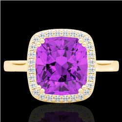 2.75 CTW Amethyst & Micro Pave VS/SI Diamond Halo Solitaire Ring 18K Yellow Gold - REF-50R4K - 22837