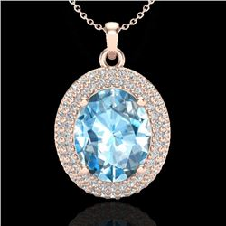 5 CTW Sky Blue Topaz & Micro Pave VS/SI Diamond Necklace 14K Rose Gold - REF-84M9F - 20556