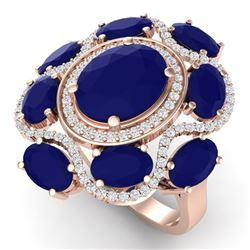 9.86 CTW Royalty Designer Sapphire & VS Diamond Ring 18K Rose Gold - REF-200W2H - 39298