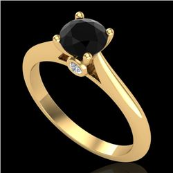 0.83 CTW Fancy Black Diamond Solitaire Engagement Art Deco Ring 18K Yellow Gold - REF-69F3M - 38194