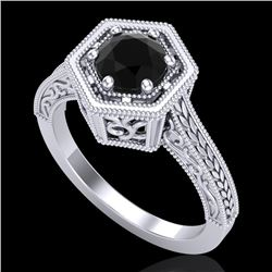 0.77 CTW Fancy Black Diamond Solitaire Engagement Art Deco Ring 18K White Gold - REF-89F3M - 37499