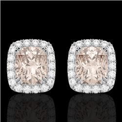 2.50 CTW Morganite & Micro Pave VS/SI Diamond Certified Halo Earrings 10K White Gold - REF-57R3K - 2